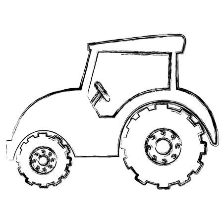 트랙터 농장 격리 아이콘 벡터 일러스트 디자인 일러스트