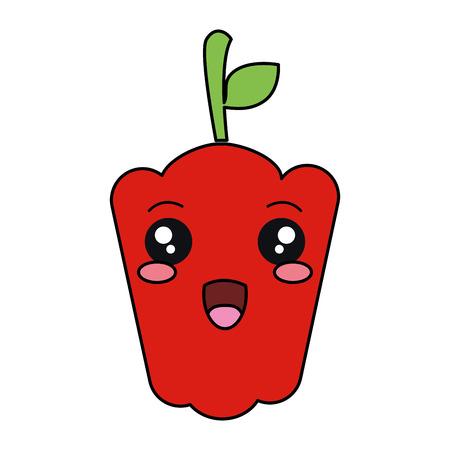 ripe: pepper fresh vegetable kawaii character vector illustration design