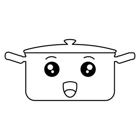 Ontwerp van de het karakter het vectorillustratie van de keukenpot
