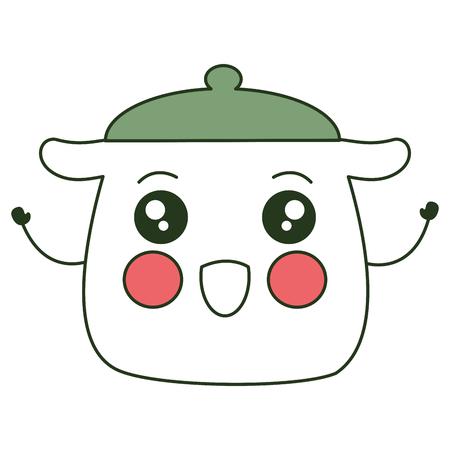 kitchen pot kawaii character vector illustration design
