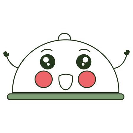 A tray server kawaii character vector illustration design.