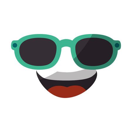 白い背景のベクトル図にサングラス アイコン漫画顔