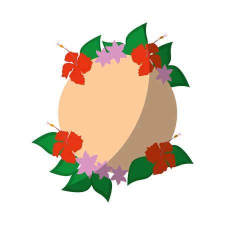 frame with tropical flowers icon over white background vector illustration Illustration
