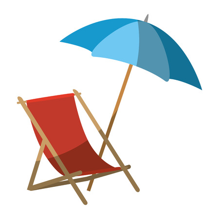 beach seat and parasol icon over white background colorful design  vector illustration