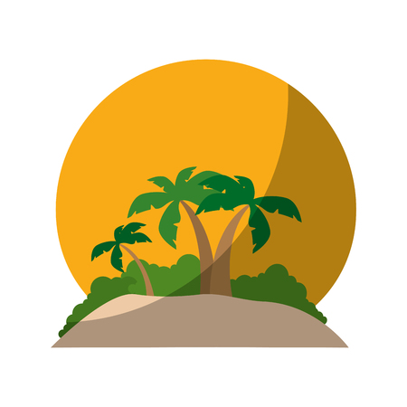 beach with tropical palms and sun icon over white background vector illustration Illustration