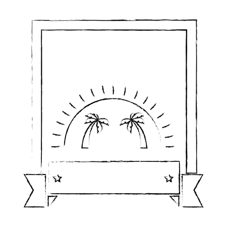 frame with tropical palms and decorative ribbon icon over white background vector illustration