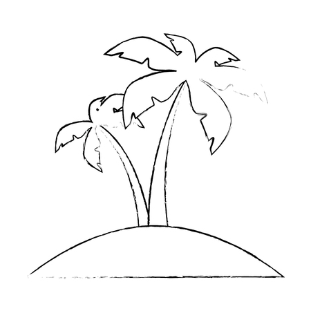 tropical palms icon over white background vector illustration Stock Vector - 82071525