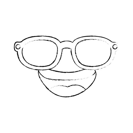 cartoon face with sunglasses icon over white background vector illustration