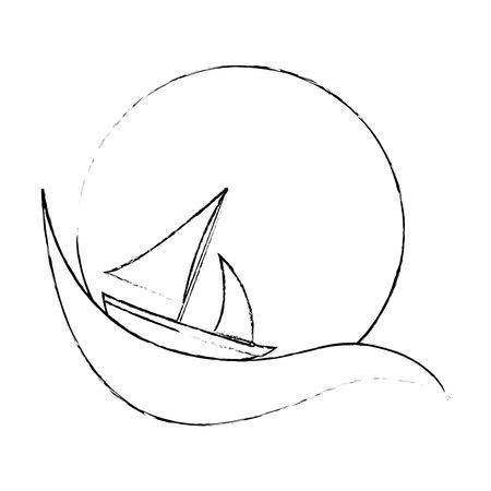 흰색 배경 벡터 일러스트 레이 션 위에 요트 상징 아이콘