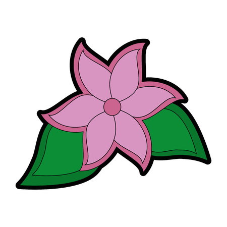 tropical flower icon over white background colorful design vector illustration