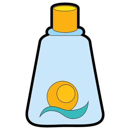 sun block: A sunblock bottle icon over white background vector illustration.