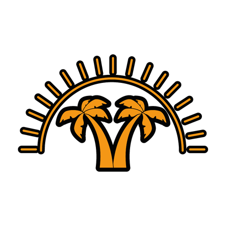 emblem with tropical palms icon over white background vector illustration