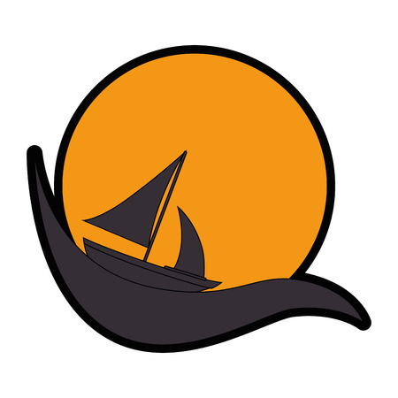 emblem with sailboat icon over white background vector illustration