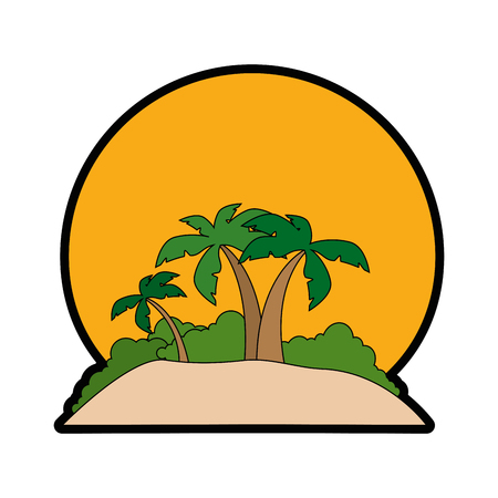 beach with tropical palms and sun icon over white background vector illustration Stock Photo