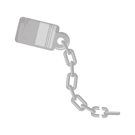 handcuffs and chain icon over white background vector illustration