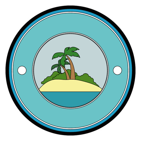 button with tropical palms icon over white background colorful design vector illustration Stock Illustration - 82072280
