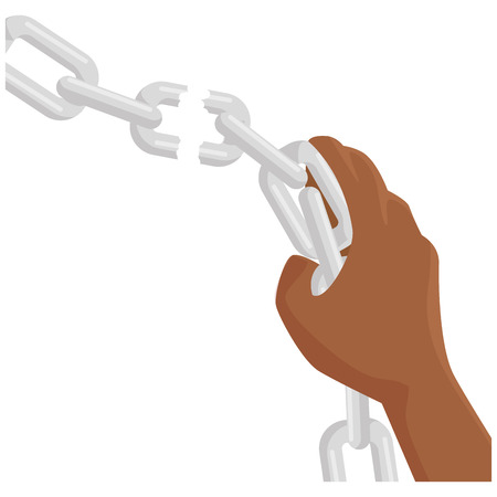 Hand grabbing a chain icon over white background vector illustration Stock Photo