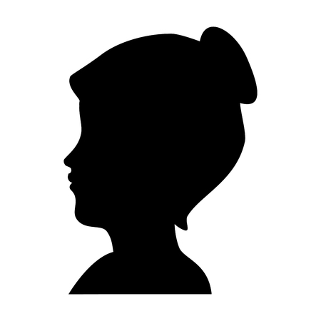 silhouette of womans head icon over white background vector illustration