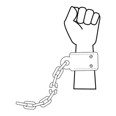 Hand met handboeien icoon over witte achtergrond vector illustratie Stock Illustratie