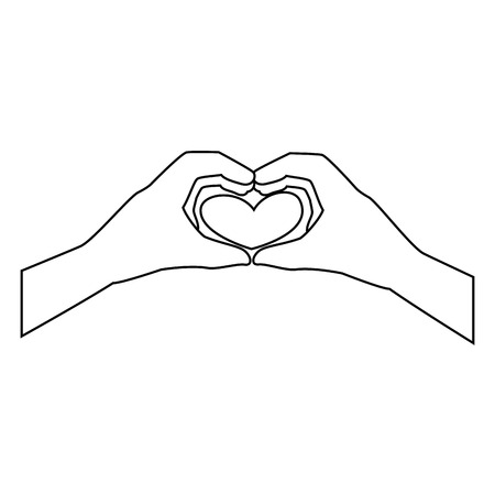 hand touch: two hands doing a heart shape icon over white background vector illustration
