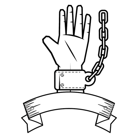 decorative ribbon with hand with handcuffs icon over white background vector illustration
