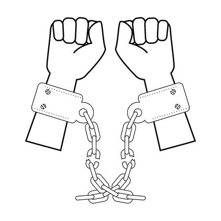 手錠アイコン白背景ベクトル イラスト上で手  イラスト・ベクター素材