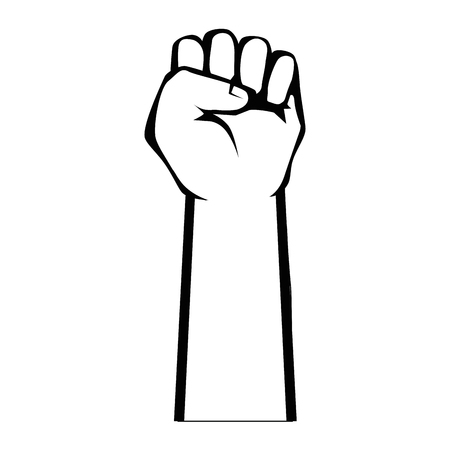 Hand with clenched fist icon over white background vector illustration