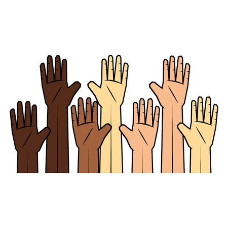 human hands icon over white background colorful design vector illustration
