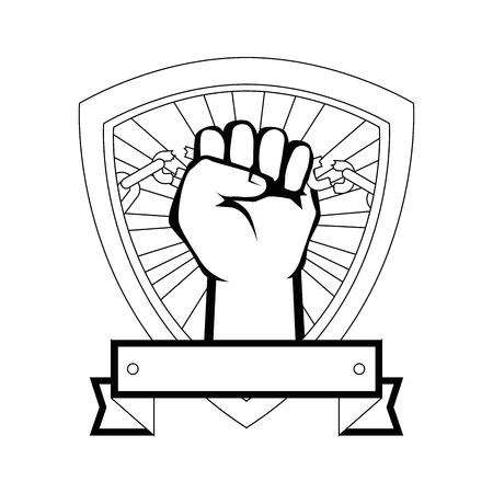shield frame with Hand with clenched fist icon over white background vector illustration