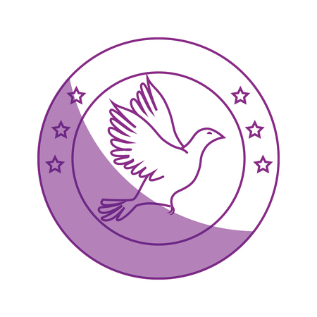 seal stamp with dove icon over white background vector illustration
