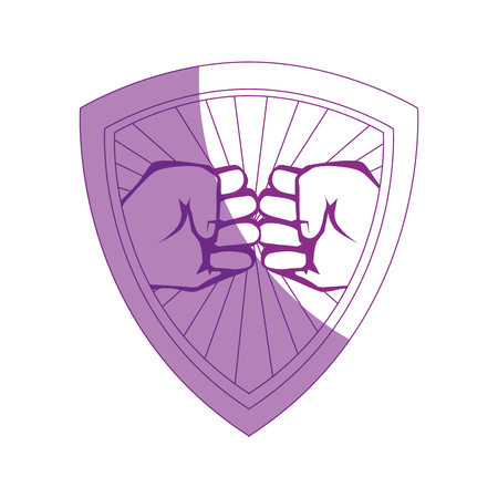 hand touch: shield with Hands with clenched fist icon over white background vector illustration