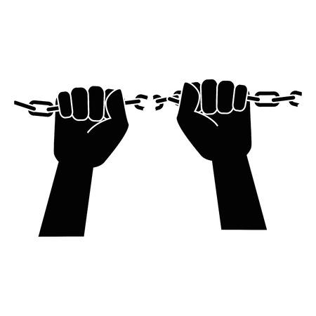 Ketting van slavernij pictogram vector illustratie grafisch ontwerp Stock Illustratie