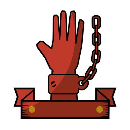 Kette der Sklaverei Symbol Vektor-Illustration Grafik-Design Standard-Bild - 82072480