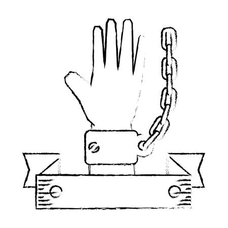 Kette der Sklaverei Icon Vektor-Illustration Grafik-Design Standard-Bild - 82072519