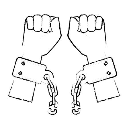 Kette der Sklaverei Icon Vektor-Illustration Grafik-Design Standard-Bild - 82069191