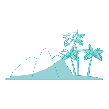 tropical palms and mountains icon over white background vector illustration
