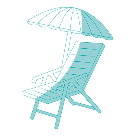 beach seat and parasol icon over white background vector illustration