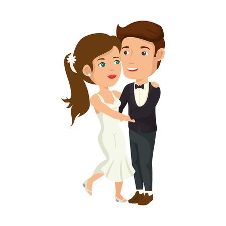 wedded: cartoon happy wedding couple icon over white background vector illustration Illustration