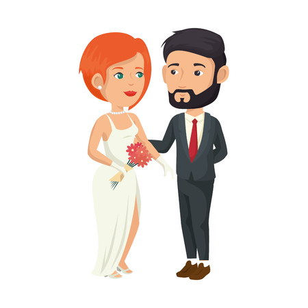 cartoon happy wedding couple icon over white background vector illustration Illusztráció