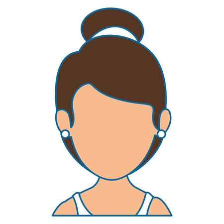 흰색 배경 위에 아바타 여자 아이콘 화려한 디자인 벡터 일러스트 레이션