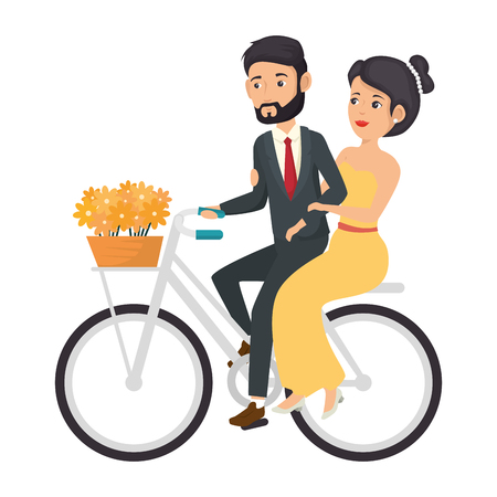 bicycle with just married couple icon over white background colorful design  vector illustration Illustration
