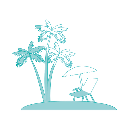tropical palms and beach seat icon over white background vector illustration Illustration