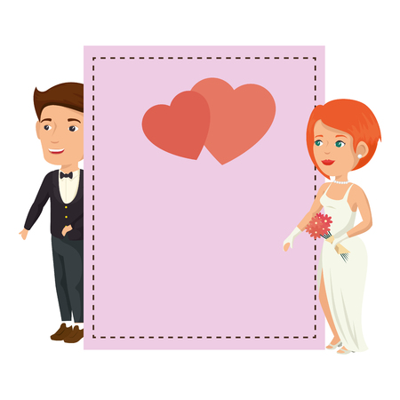 frame with wedding couple icon over white background colorful design vector illustration Illustration