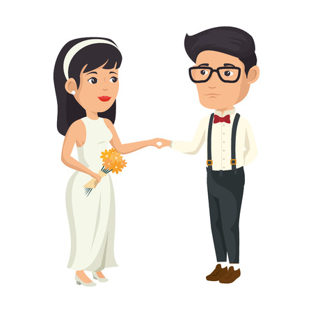cartoon happy wedding couple icon over white background vector illustration Illustration