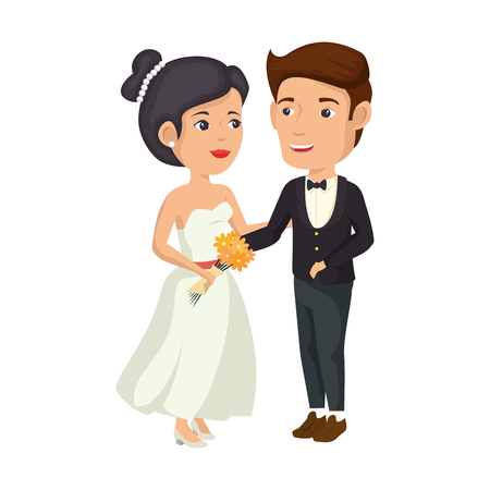 A cartoon happy wedding couple icon over white background vector illustration