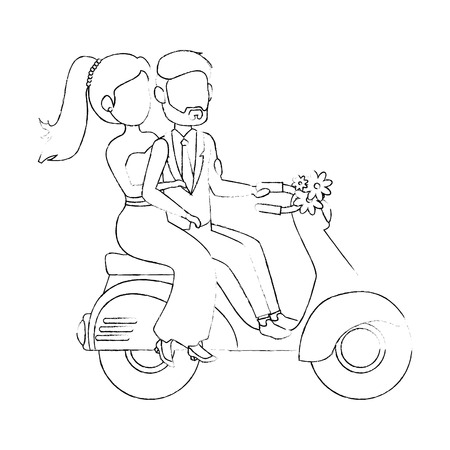 motorcycle with just married couple icon over white background vector illustration