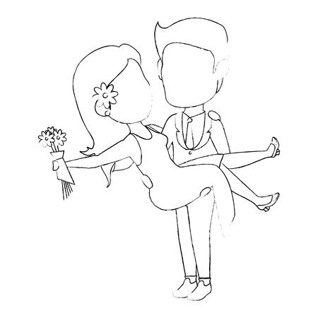 avatar wedding couple icon over white background vector illustration