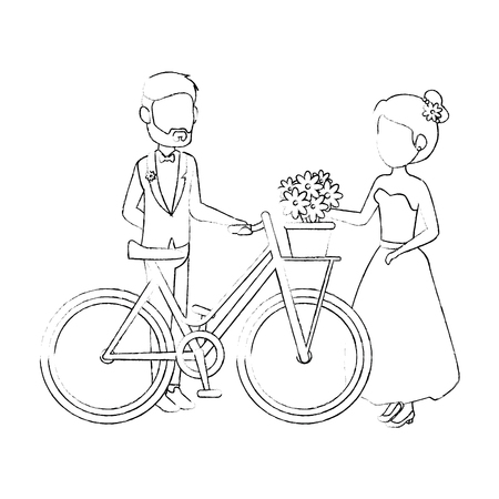 bicycle with just married couple icon over white background vector illustration Illustration