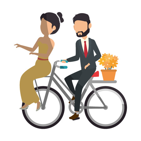 wedded: bicycle with just married couple icon over white background colorful design  vector illustration Stock Photo