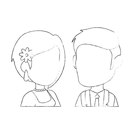 wedding couple icon over white background vector illustration